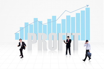 Business profit with bar chart