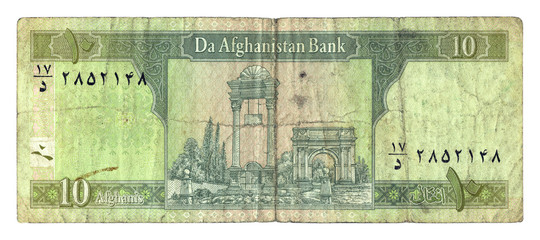 Ten afghani bill of Afghanistan  isolated on white background