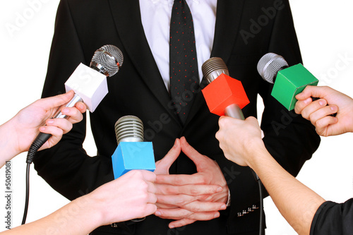 Conference meeting microphones and businessman