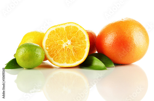 Fruits with leafs isolated on white