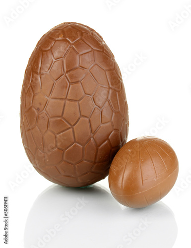 Chocolate eggs isolated on white