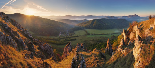 Spring mountain panorama in Slovakia with sun