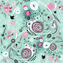 seamless graphic floral pattern on a green background