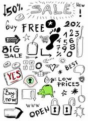 Sale doodles hand drawn set