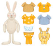 Cute dress up bunny template.