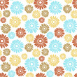 Vector seamless pattern with blue and beige flowers.