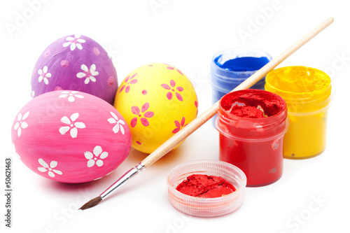 easter eggs with paints and paintbrush on white - 50621463