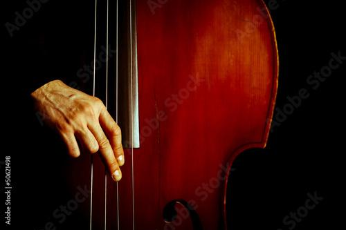 Leinwanddruck Bild Vintage double bass