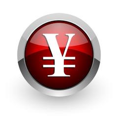 yen red circle web glossy icon