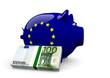 Sparschwein in EU Farben mit 100€ Geldbündel