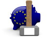 Sparschwein in EU Farben mit Hammer und Blankofeld