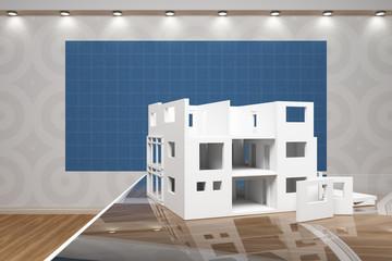 Modellhaus vor Blaupapier