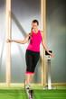 Woman training with slackline