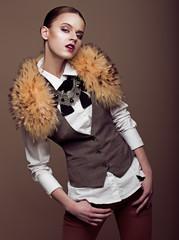 Charisma. Stylish Fashion Model in Modern Apparel. Elegance