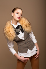 Perfect Arrogant Woman in Grey Waistcoat and Fur Collar
