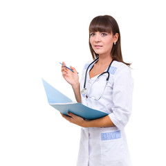 medical doctor woman with stethoscope and folder