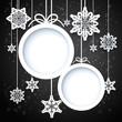 Black and white winter design with snowflakes