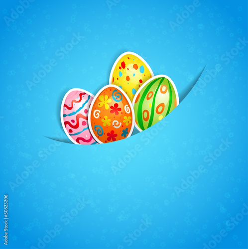 Easter blue background with egg