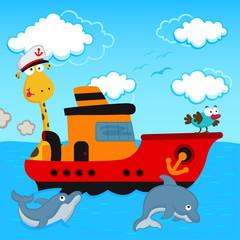 giraffe and  bird in a ship