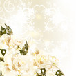 Beautiful design background with pastel roses, pears, swirl orna