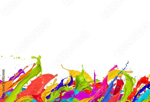 Leinwandbild Motiv Colored splashes in abstract shape, isolated on white background