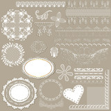 Collection of vector filigree white lace for design poster