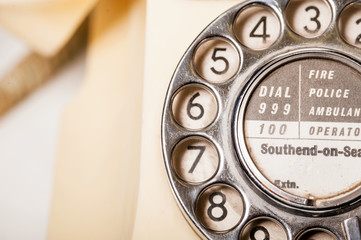 Fifties British vintage ivory telephone - macro dial detail