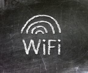 wifi symbol on blackboard