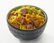 Uzbek national dish plov in a bowl