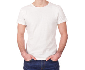 man wearing blank white t-shirt isolated on white background