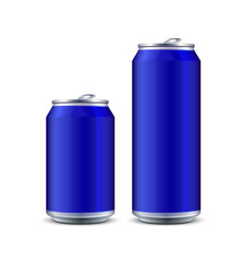 Two Blue Aluminum Can