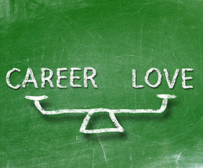 Balance of career and love on blackboard