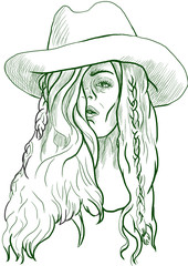 woman in big hat - full sized hand drawing