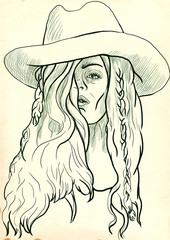 """young woman in big """"cowboy"""" hat"""