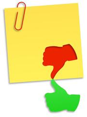 Sim e não - ilustração de um autocolante amarelo