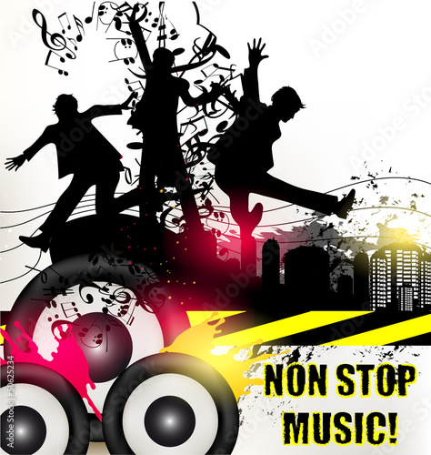Grunge music banner for disco  with ink spots, happy people silh