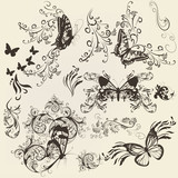 Set of filigree butterflies with ornament for design poster