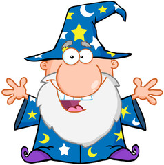 Happy Wizard With Open Arms