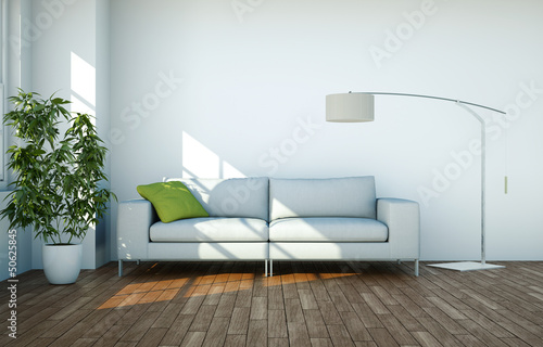 canvas print picture weisses Sofa mit Lampe
