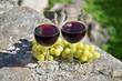 Pair of wineglasses and grapes. Bellinzona, Switzerland
