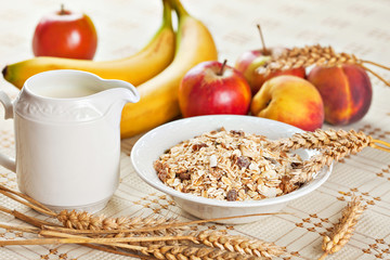 Bowl of muesli for breakfast with fruits