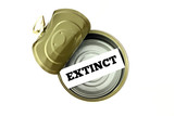 Extinction concept: extinct written inside empty can poster