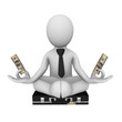 Meditation with money (3d businessman)