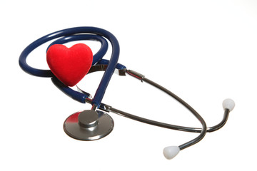 Red heart and a blue stethoscope isolated