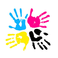 CMYK color. Handprint