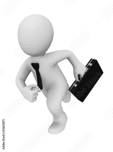 Running 3d businessman