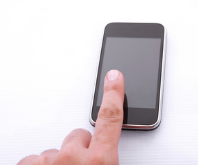 finger and cellphone