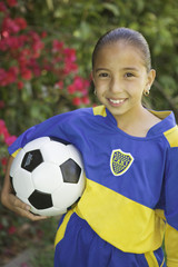 Portrait of a young female soccer player