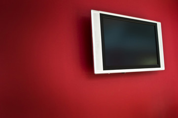 TV on Red Wall