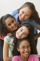 Portrait of four girls posing